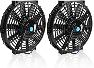 """(Pack of 2) 10"""" Universal Radiator Cooling Fans 12V 80W Slim Fan Push Pull Electric Engine Fan with Mount Kit(Diameter 10.75"""" Depth 2.56"""")"""