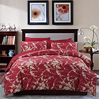 Brandream Japanese Oriental Style Cherry Red Blossom Floral Branches Print Duvet Quilt Cover 300tc Cotton Bedding 3 Piece Set (Twin)