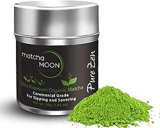 Matcha Moon - Organic Ceremonial Grade Japanese Matcha Green Tea Powder from Uji Kyoto Japan - Authentic, Premium, USDA Certified - Best For Traditionally Whisked Tea - Pure Zen - 30g Tin