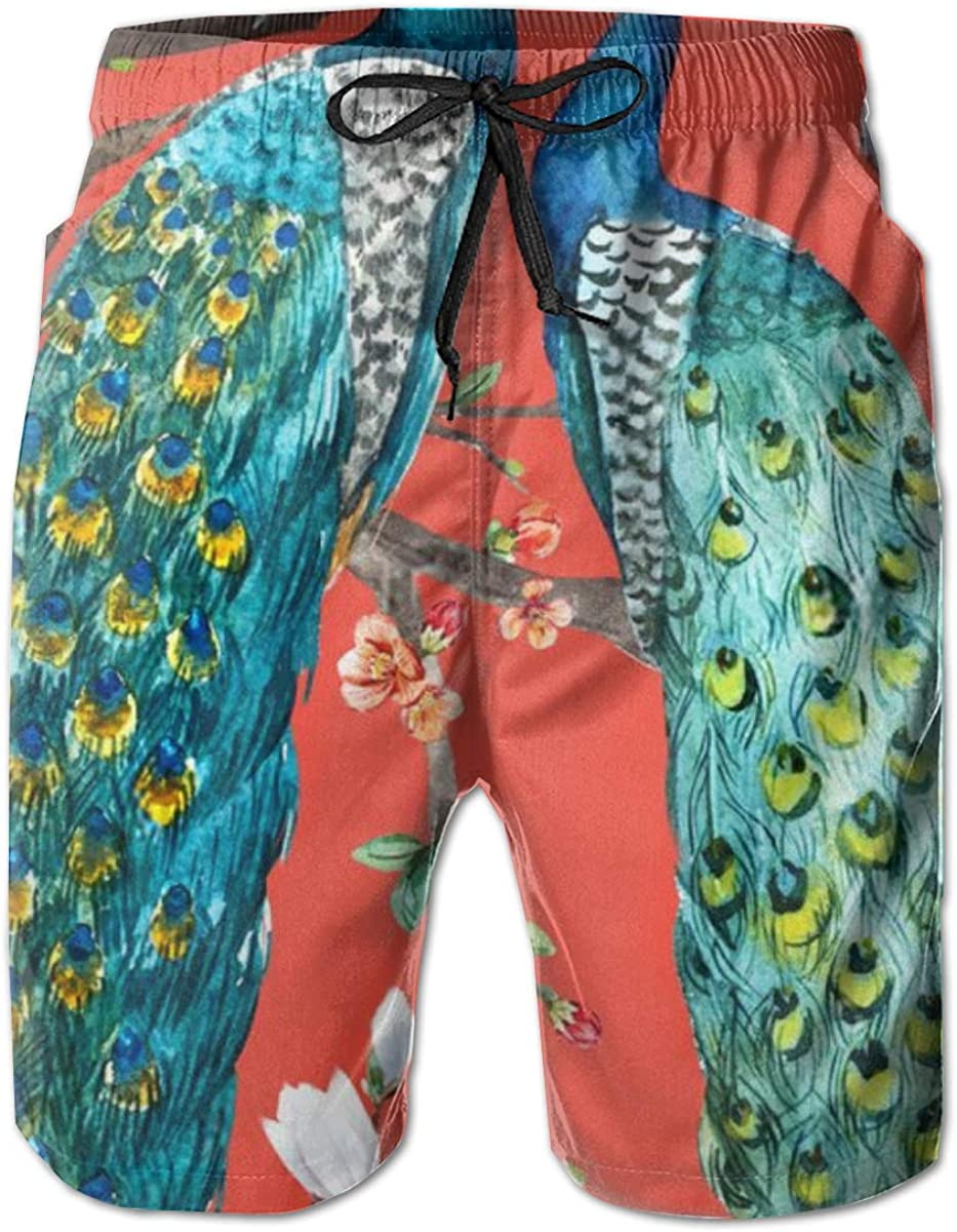 The Peacock On Courier shipping Max 86% OFF free Branch Funny Swim Men's Trunks Pants Beach Qu
