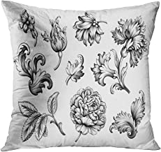 Peyqigo Throw Pillow Cover 20x20 Inch Baroque Vintage Floral Set Rose Peony Polyester Square Cushion Bedroom Couch Sofa Car Decorative Pillowcase