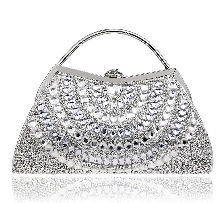 Woherren Diamond Sparkling Abendtasche Handtasche Handtasche Clutch Bag Mit Kette Strap Hochzeit Party Prom Taschen B07DBXQ8QB