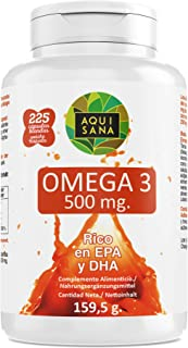 Omega 3-Aquisana| Complemento alimenticio de Aceite de Pescado |Alergenos: Pescado 225 Cápsulas | DHA
