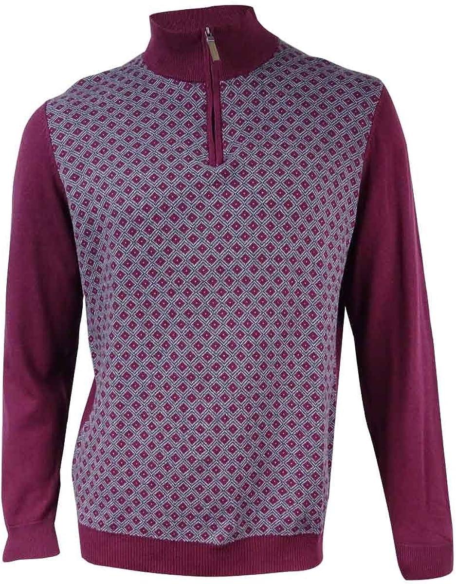 Tasso Elba New Men's 1/4 Zip Diamond-Patterned Pullover Knit Sweater BHFO