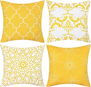 Best Fascidorm Set of 4 Throw Pillow Covers Modern Decorative Throw Pillow Case Morocco Pattern Pillow Covers Cushion Case for Room Bedroom Room Sofa Chair Car, Yellow, 18 x 18 Inch Review