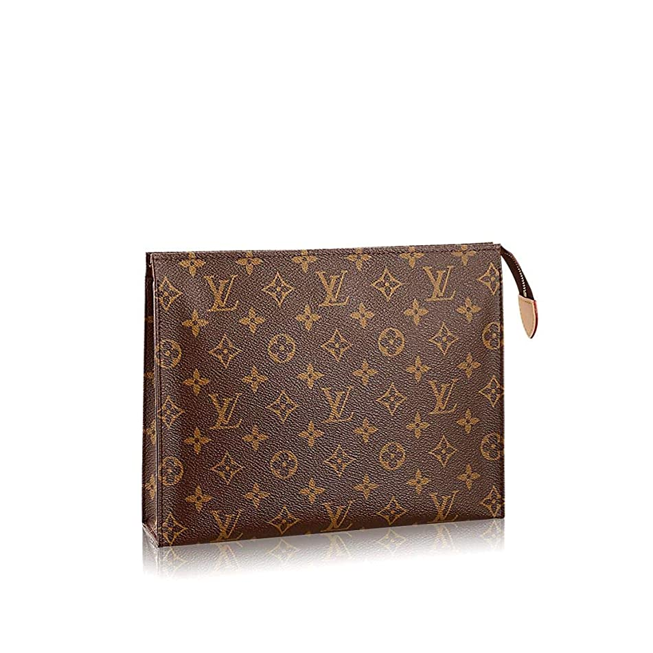 MAGICLOOK TOILETRY POUCH 26 Largest Monogram Canvas Cosmetic Daily Travel Zippy Organizer Casual Purse for Men and Woman Size 26.0 x 20.0 x 5.0 cm