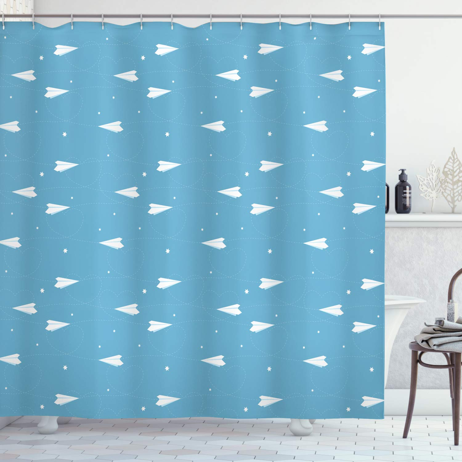Abakuhaus Nursery Airplane Shower Curtain Kids Fun Play Theme Paper Routes As Heart Shapes And Stars Cloth Fabric Bathroom Decor Set With Hooks 78 Inches Blue White Buy Online In