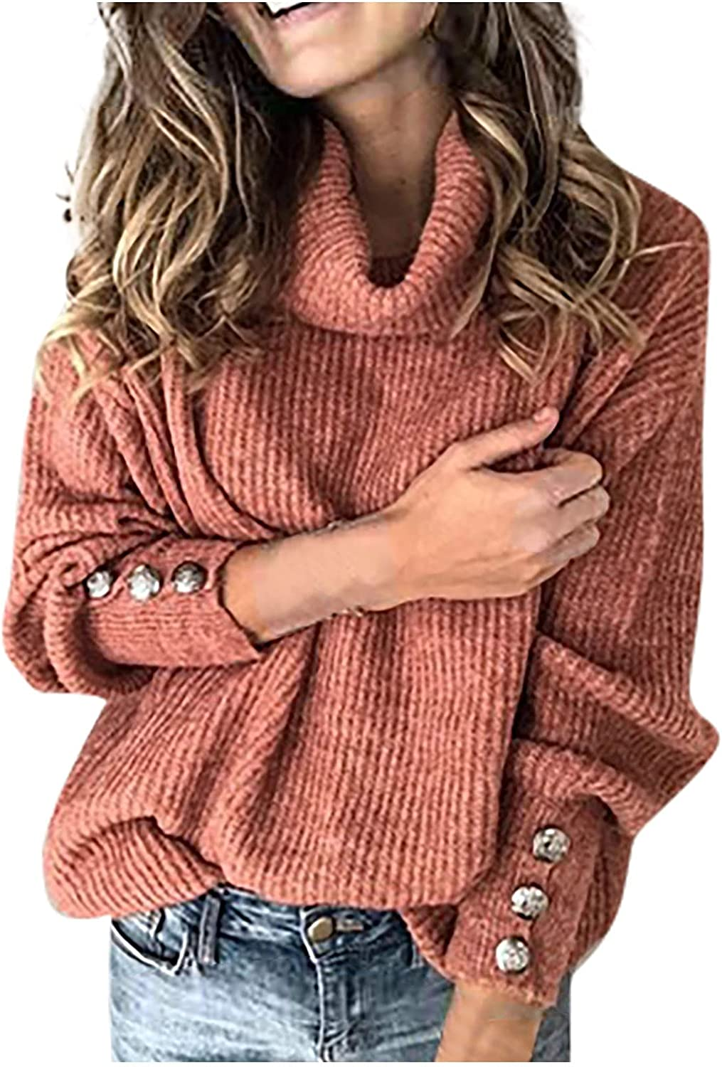 VonVonCo Pullover Sweaters for Women High Collar Neck Pullover Button Long Sleeve Loose Knitted Sweater Tops