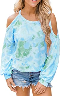 Miracle Women Long Sleeve Tie Dye Print Fashion Casual Loose Tops and T-Shirts