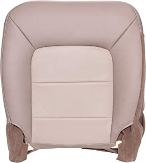 The Seat Shop Driver Bottom Replacement Seat Cover - Medium Parchment and Light Parchment (Two Tone Tan) Leather (Compatible with 2003-2006 Ford Expedition Eddie Bauer with Heated and Cooled Seats)