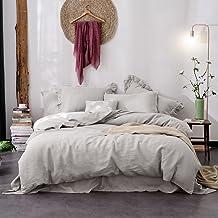 Hibertex Linen Quilt Cover Set,100% Pure French Linen Doona Cover Set,Luxurious Bedding Set 3 Pieces-Gray-Queen Set