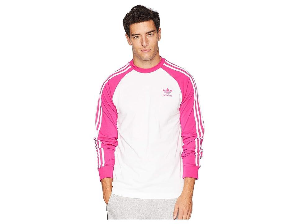 adidas Originals 3-Stripes Long Sleeve Tee (Shock Pink) Men's T Shirt