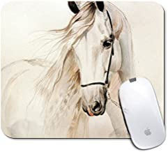 Personalized Rectangle Mouse Pad, Printed White Horse Pattern, Non-Slip Rubber Comfortable Customized Computer Mouse Pad (9.45x7.87inch)