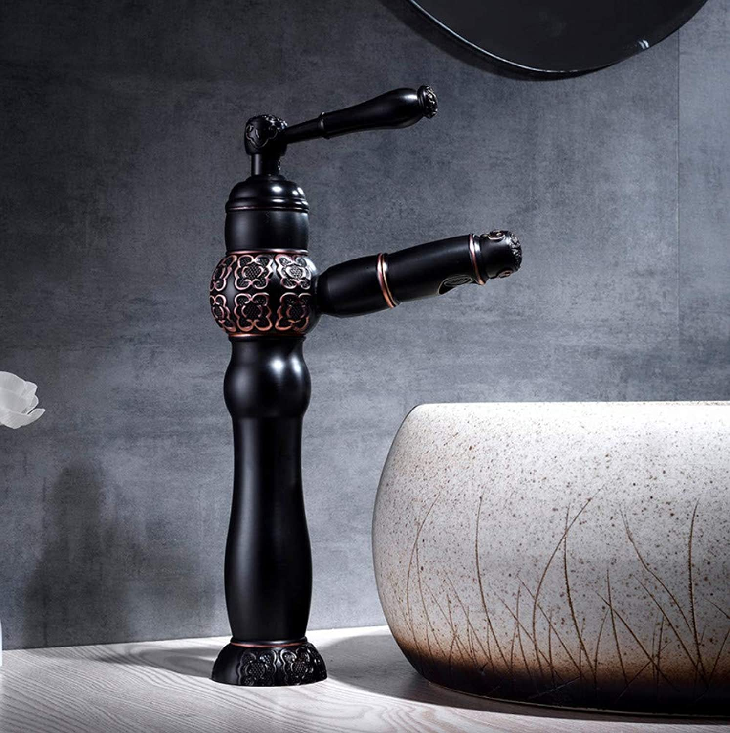 Ayhuir Basin Faucets Black Bronze Pull Out and Down Bathroom Faucet Kitchen Sink Faucet Toilet Mixer Vintage Carving Tap Hot Cold Water