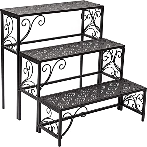 popular Donosura Plant Stands for Indoor Plants, Metal Wrought 2021 Iron Outdoor Tiered Plant Stand, 3 Tier 12 Pottted Ladder Multiple Plant Pot Holder Shelf Rack for Living Room Corner high quality Patio, Black, Square online