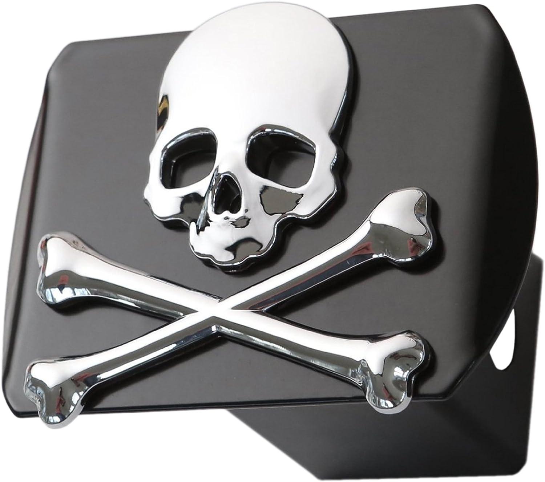 LFPartS Metal Skull 3D Chrome on Black Trailer Bone Max 54% OFF Sacramento Mall Emblem