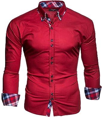 Kayhan Camisas Hombres Camisa Hombre Manga Larga Ropa Camisas de Vestir Slim fácil de Hierro Fit SML XL XXL-6XL Modello Musterärmel