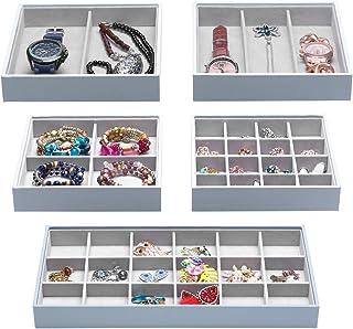 Magic Stackable Jewelry Trays Closet Dresser Drawer Organizer for Accessories, Gadgets & Cosmetics, Storage Display Showca...
