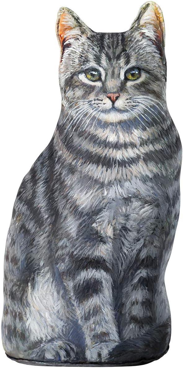 Deluxe Smokey At the price of surprise Cat Doorstop Grey Tabby Decorat Door Stop Striped