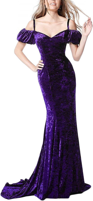 Ellystar Women's Sexy Off The Shoulder with Long Mermaid Velvet Formal Dresses
