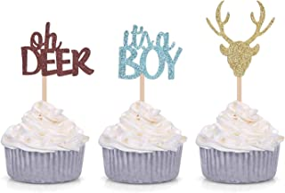Oh Deer It's A Boy Cupcake Toppers for Male Baby Shower Party Decorations (24 Counts)