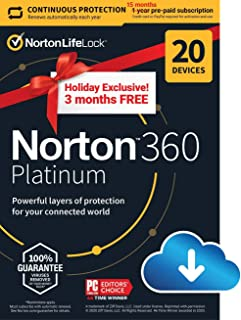 Holiday Exclusive - Norton 360 Platinum 2021 – Antivirus software for 20 Devices with Auto Renewal - 3 Months FREE - Inclu...