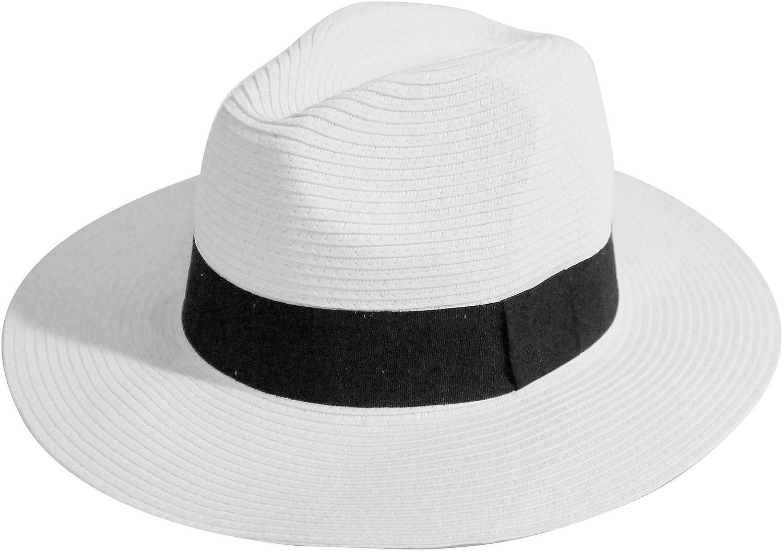 MAISON DE COCO Unisex Adjustable Sized Panama Straw Hat Wide Straw Fedora Hat