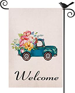 Kuchluse Old Truck Welcome Garden Flags, Vintage Pickup with Flowers Small Yard Flags, Double Sided Watercolor Yard Decora...