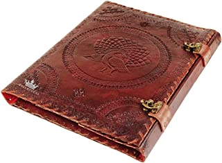 "Imperial - Moon Dragon Embossed Genuine Leather Organizer ideal for Professional Padfolio Portfolio, Document Holder, Business Case Organizer, Resume, Interview Folder with Brass Closure (13 X 10"")"