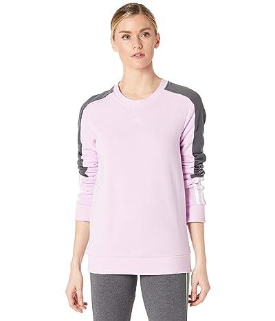 adidas Color-Block Linear Sweatshirt (Clear Lilac/White) Women