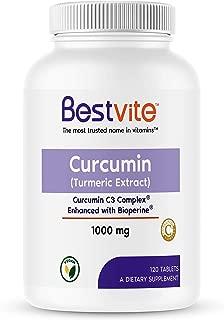 Curcumin 1000mg (Turmeric)(120 Tablets) with Curcumin C3 Complex & Bioperine - Standardized to 95% Cucuminoids