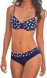 ZAFUAZ Women Padded Push up Bikini Set Halter Two Piece Cross Top Swimsuit Patchwork Bathing Suit Monokini
