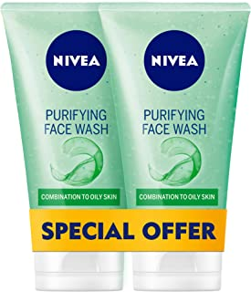 NIVEA, Face Wash, Purifying, Combination to Oily Skin, 2 x 150ml