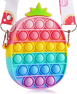 BACKGAMMON Pop Bubble Rainbow Pineapple Bag Shoulder Bag Handbags Cross Body Bag Silicon Sensory Stress Relief Handbag Wal...