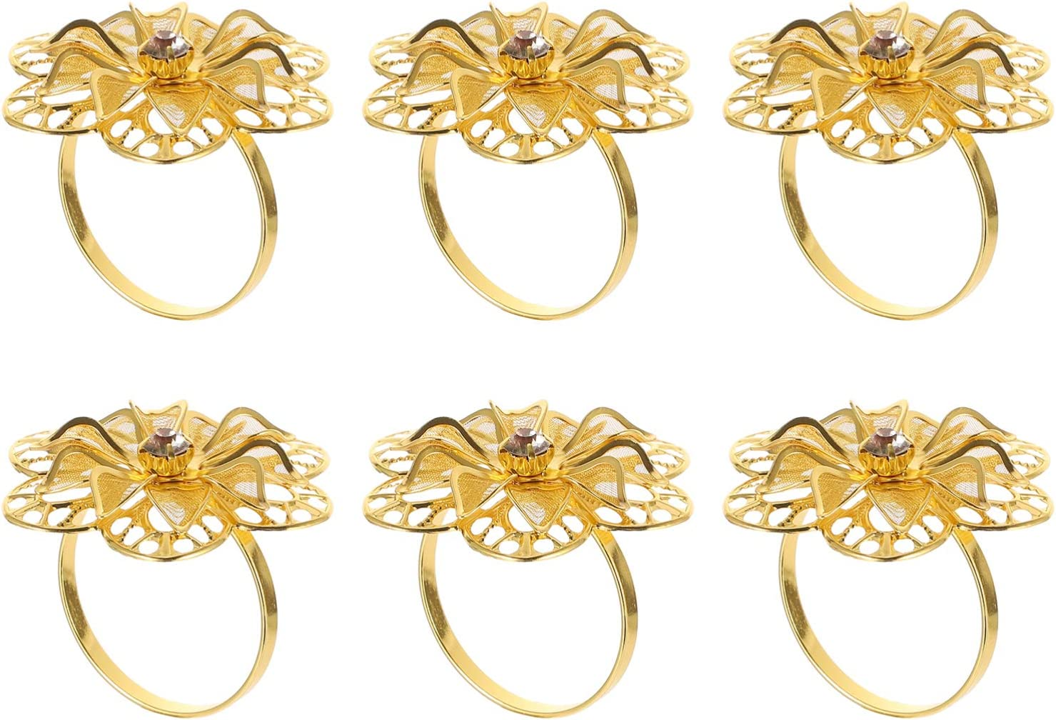 HEMOTON 6Pcs Floral Napkin Max 74% OFF Ranking TOP4 Rings Holders Dinner Wed Table