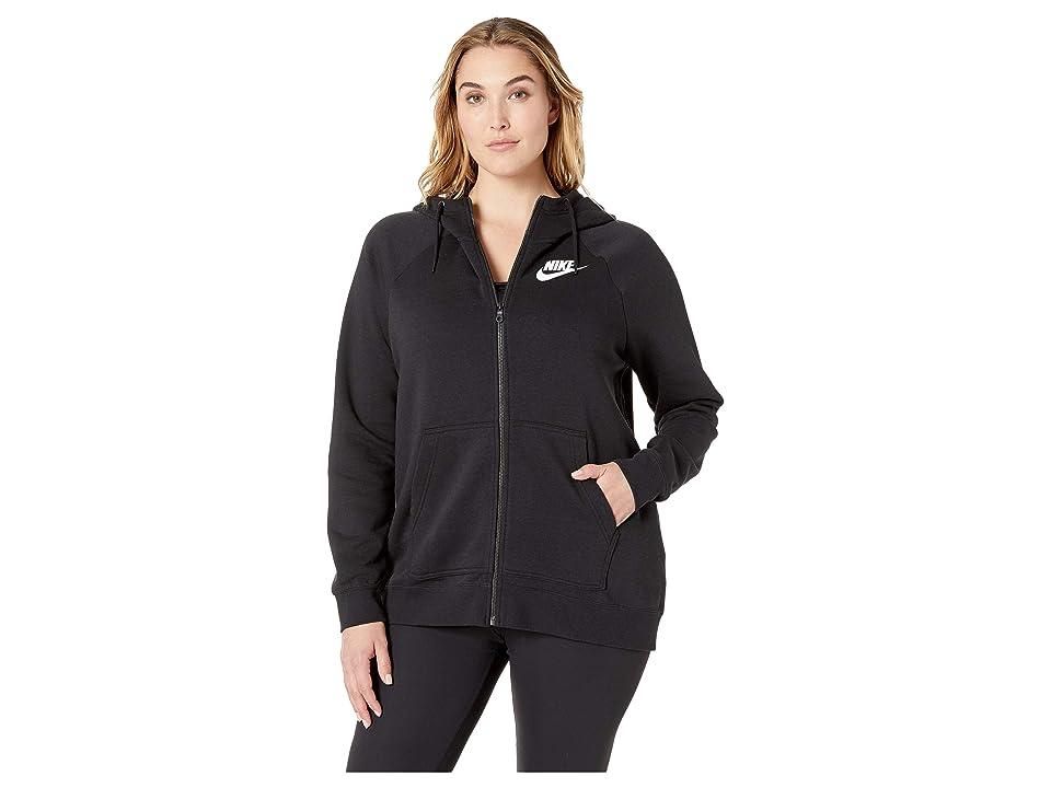 Nike Plus Size Rally Full Zip Extended Hoodie (Black/Black/White) Women