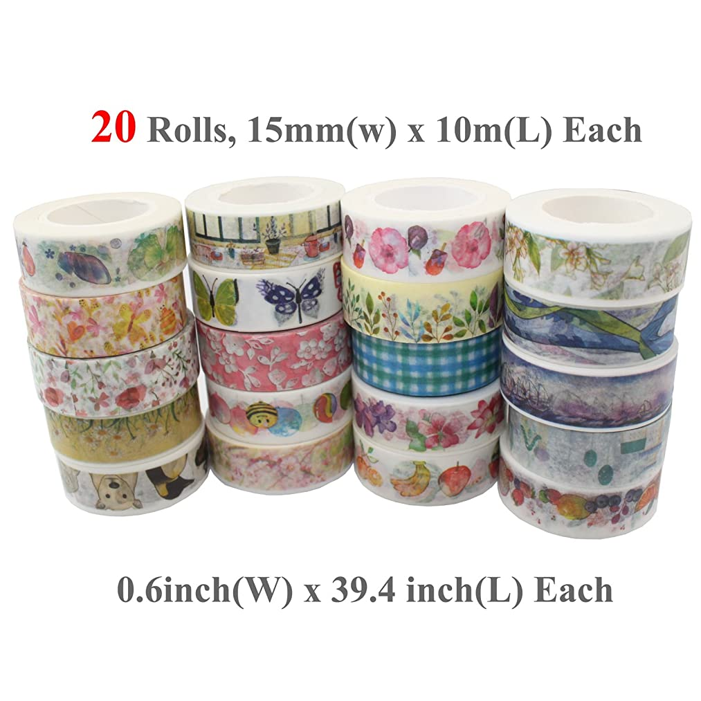 Fnado Washi Masking Tape, Vibrant Decorative Japanese Paper Tapes-DIY Adhesive Decorative Tape, 1.5cm(W)10m(L), Set of 20 Rolls