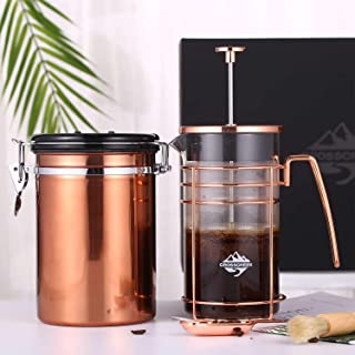 French Press Coffee Gift Set - French Press Coffee & Tea Maker, with Stainless Steel Container Canister, Cleaning Brush and Scoop, Heat Resistant Glass French Press Machine 9917-C001-04