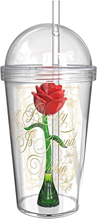 Beauty And The Beast BUBA-S960 - Vasos para niños, diseño de rosas, 236 ml por Zak Designs, Vaso con rosa encantada en el interior, 680 ml, 0, 0, 1