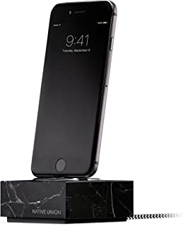 Native Union Dock+ Marble Edition - Genuine Marble Charging Dock with [Apple MFi Certified] Reinforced Lightning Cable for iPhone/iPad (Black)