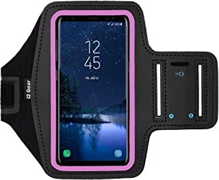 i2 Gear Cell Phone Armband for Running - Workout Phone Holder Case with Adjustable Arm Band Sleeve, Reflective - Compatible with Galaxy S9, S8, S7, S6, Edge and iPhone X, XS (Pink)