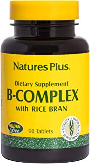 NaturesPlus B Complex with Rice Bran - 90 Vegetarian Tablets - Yeast Free B Vitamin Supplement, Energy & Brain Booster, Mood Enhancer, Anxiety Reducer, Stress Reliever - Gluten-Free - 90 Servings