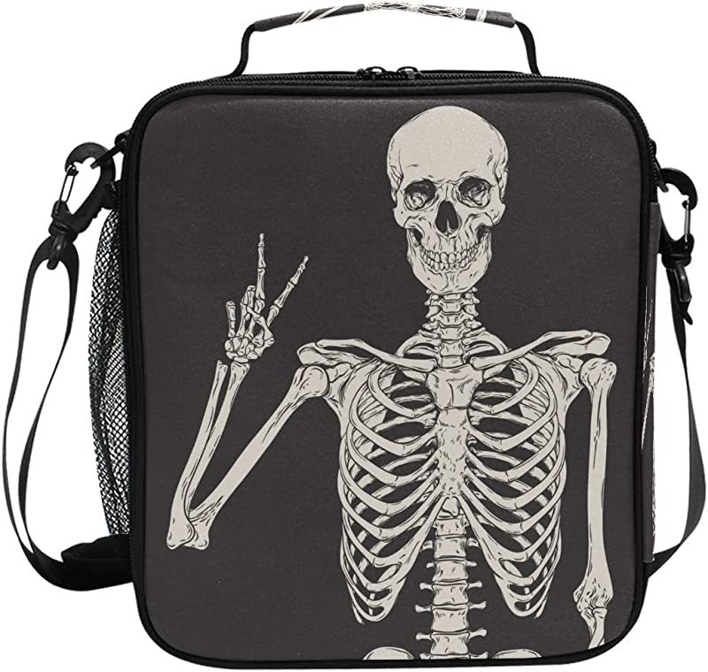 My Little Nest Insulated Cooler Square Tote Lunch Bag Human Skeleton Skull Thermal Work Picnic Food Organizer Lunchbox For Women Men Kids