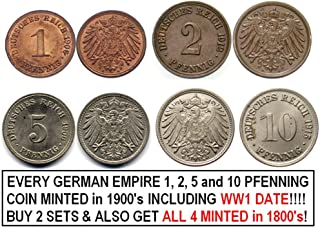 DE 1915 SET OF EVERY GERMAN EMPIRE 1, 2, 5 and 10 PFENNIG COIN MINTED IN BRONZE and COPPER-NICKEL1900-1918 INCLUDING WW1 DATE(S)! BUY 2 SETS GET EVERY ONE FROM 1800's, TOO!! Very Fine or Better