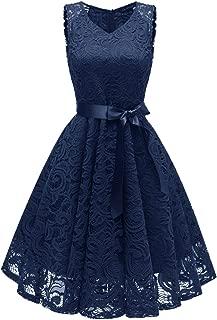 Women Fashion V-Neck Formal Lace Evening Party Prom Midi Dress