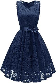 LA ORCHID Laorchid Knielang cocktailkleid festliches Kleid a Linie Elegante Sommerkleid Damen Vintage Spitzenkleid Retro v Ausschnitt Kleid Spitze