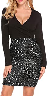 Hotme Women's Sexy Sequin Glitter V Neck Bodycon Stretchy Mini Party Dress