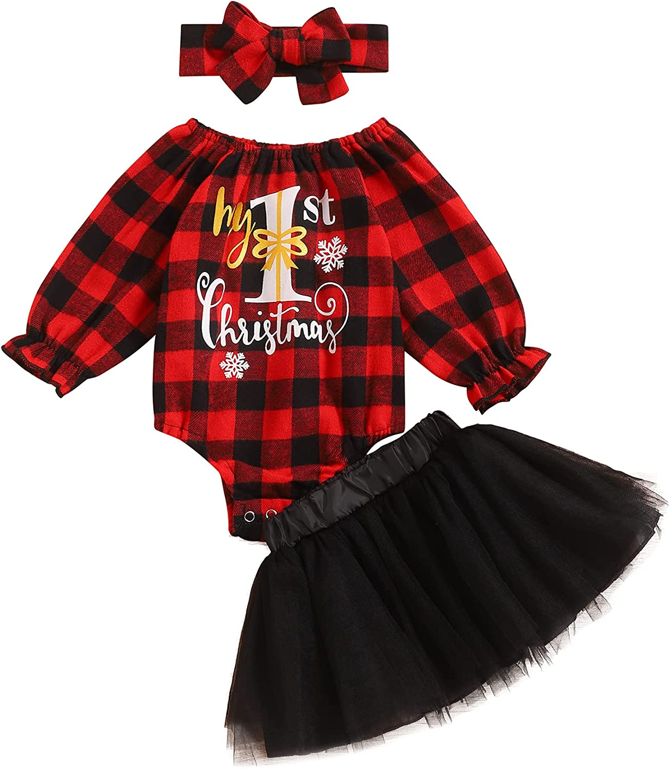 bilison Infant Baby Girl Christmas Outfit My First Christmas Plaid Romper Top Tutu Skirt with Headband Xmas 3Pcs Clothes Set