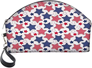 Half Moon Cosmetic Beauty Bag,Big Star Figures with American Flag Featured Inner Lines Proud Country Design for Women & Girls School Travel Office