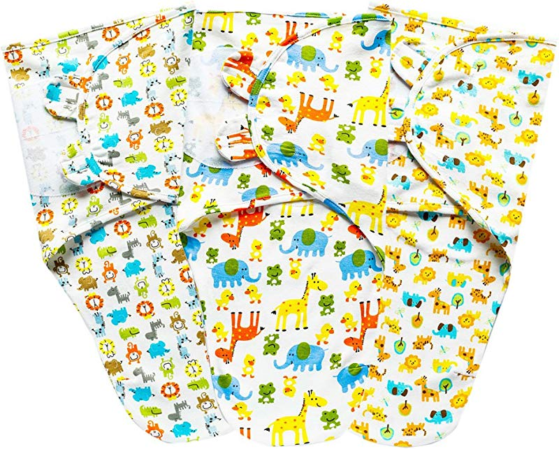 Swaddle Blanket Baby Wrap 3 Pack Adjustable 0 3M 100 Cotton For Girls And Boys GinaEra Style9